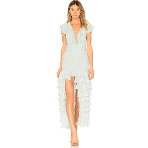 NBD Baby Blue Teal Romantic Ruffle Lace Up Gown